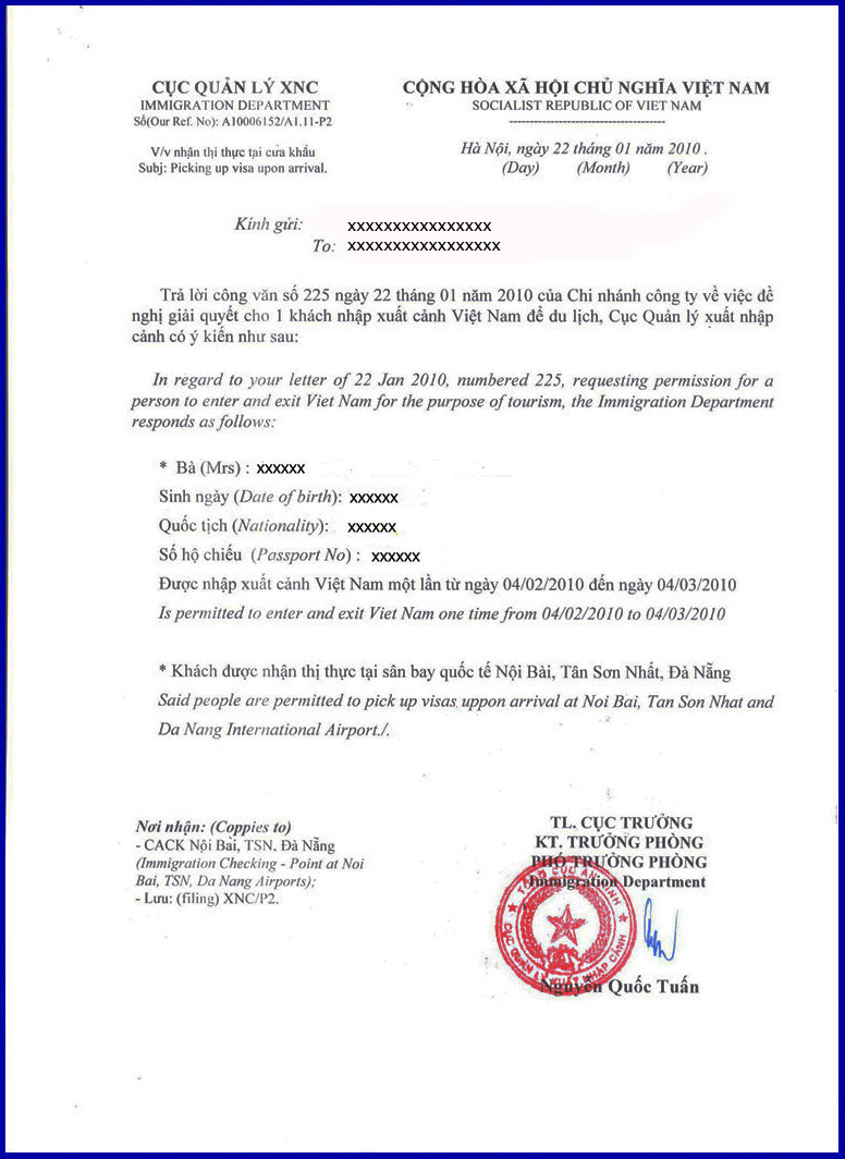 Pre-arranged Vietnam Visa approval letter